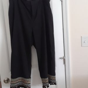 Eloquii Black Pants with Hem Tassels